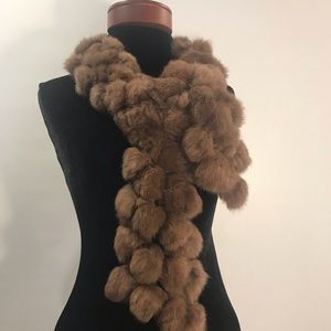 Accessories - Fur Pom-Pom scarf brown
